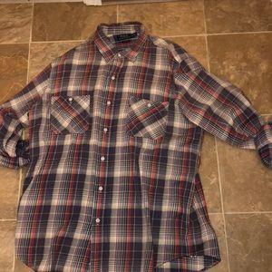 Purple plaid Polo button up LS shirt